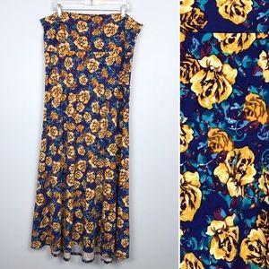Lularoe Floral Maxi Skirt Plus 2XL Roses Yellow